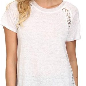 Rebecca Taylor linen T-shirt with lace detail